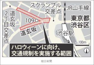 渋谷ハロウィンの交通規制の場所