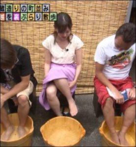 田中瞳アナの足湯の画像