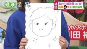 川田裕美アナの旦那の似顔絵